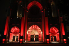 Cue Exorcist Theme (Chuck Diesel) Tags: washingtondc nationalcathedral halloween hauntedhouse red catholicchurch cathedral houseofgod night lights