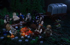 Tales In Omos: Chapter 11 - Smoke and Stars (Ben Cossy) Tags: lego moc afol tfol dnd dd dungeonsanddragons campfire carriage castle medieval fantasy