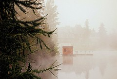 in the fog (majka44) Tags: slovakia nature fog mood rain tree reflection mirror building hightatras travel landscape water lake september day foggy foggyday mystic magic atmospheric capture europe waterscape