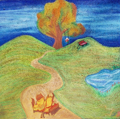 Leaf and tree (wwimble) Tags: pastels streetart viacolori shortnorth columbus ohio leaf path pond wagon tree swing hills swinging 2009
