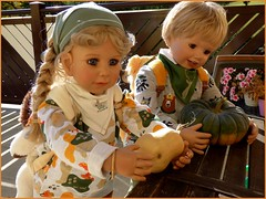 Kürbisernte / Pumpkin harvest (ursula.valtiner) Tags: puppe doll luis bärbel künstlerpuppe masterpiecedoll herbst autumn fall kürbis pumpkin garten garden
