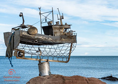 The Trawler - Jimmy Malcolm (_Captive Image_) Tags: scotland captiveimagephotography traveldestinations stonehavenbanksy metalwork stonehaven socialhistory sea sculpture jimmymalcolm beach trawler outdoors humor cultures concepts uk boardwalk