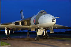 Avro Vulcan XM655. Timeline Events. Wellsbourne. October 2019 1 (MTB1975) Tags: avrovulcanxm655 timelineevents wellsbourne october 2019 uk mattcraven photo aircraft coldwar military royalairforce avro vulcan plane sony tripod dusk xm655 jet bomber