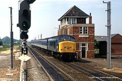 20/07/1988 - Northallerton, North Yorkshire. (53A Models) Tags: britishrail sulzer type4 class45 peak 45121 diesel passenger northallerton northyorkshire train railway locomotive railroad