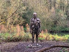 Sculpture UEA Broad, Norwich, Norfolk (mira66) Tags: gwuk scva uea university eastanglia path lake broad sculpture manofstones bronze man river yare