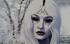 Haltiatar (Miru in SL) Tags: second life sl mesh avatar female girl haltiatar inkblot fika rainbow sundae omega appliers genus makeup eyes lips wanderlust weekend hocus pocus event face portrait fantasy white pale tattoo ink