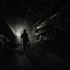 In the Shed (Images from the Dark Side) Tags: didcot steam train sheds smoke people
