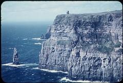 Cliffs of Moher & O'Brien's Tower, County Clare, Ireland (Bobbex) Tags: sea cliff seascape rock coast coastline 1960s