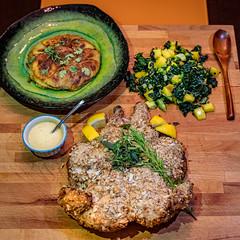 Diabolical Chicken, Mixed Herb Potato Galette and Massaged Kale Salad (hathaway_m) Tags: food dinnerdiva theduchess chicken potato kale mango galette herb