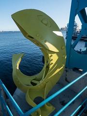 P8236811 (Copy) (pandjt) Tags: minnesota travelogue roadtrip unitedstates usa duluth duluthmn fishsculpture sculpture publicart yellowfish minnesotaslipbridge bluebridge canalpark