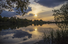 Sunset Reflection (CraDorPhoto) Tags: canon6d sun sunset landscape waterscape nature outdoors outside uk cambridgeshire sky clouds water lake reflections