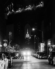 DUMBO By Night #9 - Brooklyn, New York, 2016 (smithat) Tags: newyorkcity newyork unitedstatesofamerica brooklyn empirestatebuilding manhattanbridge bw blackandwhite monochrome monochromatic