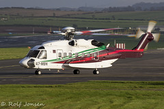A7-MBN Sirkorsky S-92A Gulf Helicopters Prestwick airport EGPK 07.10-19 (rjonsen) Tags: helicopter taxying airside motion blur aviation