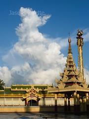 Profile of Cloud Over Temple Complex in Rangoon, Myanmar (jasonrosette) Tags: asia camerado jrosette jasonrosette religion buddhism temple worship rangoon gold cloud cloudscape