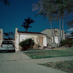 Citizen Earth (ADMurr) Tags: la 937 brookside night house lights palm jacaranda hasselblad 500cm 50mm distagon zeiss kodak ektar dbb0242