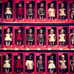 Terrifying (Miss Emma Gibbs) Tags: dolls pink girls lines toys rows shops