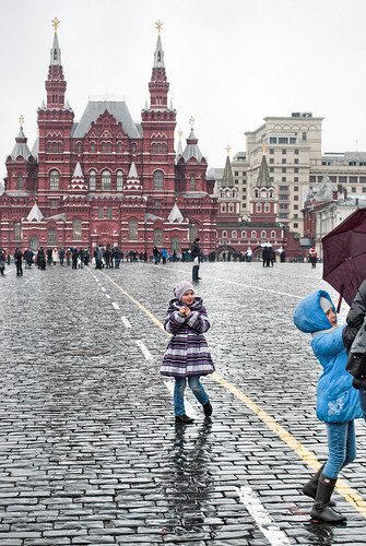 Kids on a rainy Red Square
