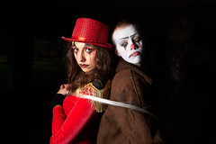 Circus of horrors (CAR TREV) Tags: england 2019 uk dolls blue makeup sparkle performer ringmaster clown circus red sonya6500 a6500 18105mm costumes sony halloween