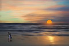 Heading home too soon (charhedman) Tags: happyslidersunday composite usingallmyownimagestocreateascene sunset beach sky reflections water waves headinghometoosoon