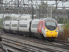 A Virgin Trains Class 390 'Pendolino' unit approaches Crewe with a Manchester Piccadilly to Euston service (Steve Hobson) Tags: virgin trains crewe 390 pendolino