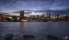 Made  in New York  (Blue hour at Brooklin bridge) (JoseQ.) Tags: newyork dumbo brookling puente bridge horaazul puentedebrookling nocturna nights lights bluehour sky hora azul