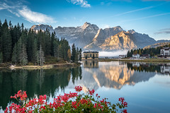 A room with a view (Kadu Flyer) Tags: dolomites italy mountains goldenhour lagodimisurina sky water lake flowers trees larch reflection alps oo