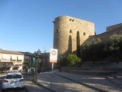 Tower  Almofala, City walls,  Calle  Carrera, Toledo (d.kevan) Tags: torrealmofala xiiicentury toledo albarranatower city walls architecturaldetails windows trees plants steps cypresses signs cars citywalls fortifications buildings streetlamps