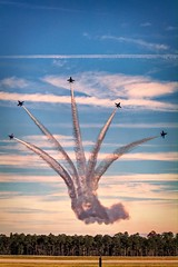 The Blue Angels F-18's scatter around show center at Moody AFB during their flight demonstration. (GeorgiaRailfan31602) Tags: f18 hornet usn navy aircraft moody afb