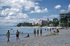 Waikiki Beachfront Ewa 1952 (Kamaaina56) Tags: 1950s waikiki hawaii beach slide