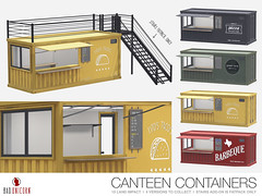 NEW! Canteen Containers @ Anthem (Bhad Craven 'Bad Unicorn') Tags: crates container food trucks truck red yellow green black taco tacos pizza pizzas vegan gegans vegans foods bbq barbeque restaurant eat spots hipster 3d art artist gfx graphic design bhadcraven badunicorn unicorns unicorn bad bhad craven secondlife second life sl mesh meshed decor decorative decors home garden gardens homes houses builds buildings cool dope