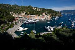 Portofino Bay (Katka B.) Tags: italy portofino bay liguria sea city village port ship ships form above nature
