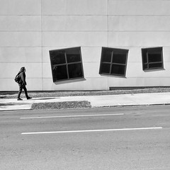 wayward windows (Jim_ATL) Tags: street windows blackandwhite bw atlanta pedestrian minimal tilted three