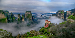 Four Meteora monasteries in mist panorama (Dimitil) Tags: architecture byzantinearchitecture christianism church cloister clouds faith greece hellas kalambaka kastraki meteora monachism monastery monument nature orthodoxy panorama religion rocks sky thessaly tradition trikala unesco unescoworldheritage uwh hellasgreece