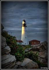 Portland Headlight at Sunset (pandt) Tags: portland headlight maine coast coastal ocean sky clouds cloudy capeelizabeth outdoor water rocks cocky flickr canon eos slr rebel t1i