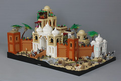 The Grand Victory at Al Tajir (-LittleJohn) Tags: moc creation model build design building gatehouse city middle eastern dome onion roof wall town river waterfall desert dunes palm tree bridge cobblestone kaliphlin guilds historica arabian architecture castle medieval scene setting lego