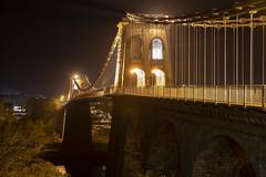 Menai Suspension Bridge, North Wales (Frightened Tree) Tags: bridge pont thomas telford menai suspension night sky landscape anglesey bangor lights a5 a55 history ynys mon beaumaris frightenedtree frightened tree photography