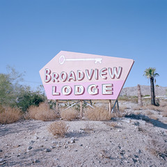 broadview. desert hot springs, ca. 2019. (eyetwist) Tags: eyetwistkevinballuff eyetwist broadviewlodge sign motel retro deserthotsprings desert california mamiya 6mf 50mm kodak portra 400 mamiya6mf mamiya50mmf4l kodakportra400 ishootfilm ishootkodak analog analogue film mamiya6 square 6x6 mediumformat 120 primes filmexif iconla epsonv750pro lenstagger dirt sonorandesert dry bleak americantypologies roadsideamerica american west type typography palm trees spring spa resort pink geometric neon googie mineral hot