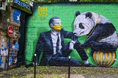 L'homme masqué et le panda (Doudou Style) (Edgard.V) Tags: paris parigi street art arte urbano urban callejero graffiti mural doudou style panda homme male uomo man homem ballon balloon pelotta bola palla ourcq living colours 2019