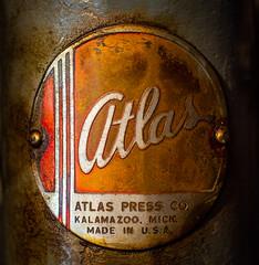 Atlas Press Co. of Kalamazoo (channel locks) Tags: brandandlogos drillpress atlas macromondays oil grease