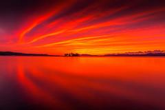 sunset 0636 (junjiaoyama) Tags: japan sunset sky light cloud weather landscape red orange yellow contrast color bright lake island water nature autumn fall reflection calm dusk serene