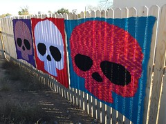 Another view of the 2019 Day of the Dead crochet yarn bombs (crochetbug13) Tags: crochet crocheted crocheting crochethat crochetbeanie crochetcap wintercrochetcrochetrainbowhat wearablecrochet crochetyarnbomb dayofthedead crochetdayofthedead crochetsugarskull