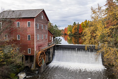 Colorful Mill (Greg Riekens) Tags: mill autumn usa landscape nikond500 stream midwest fall historical dellsmill waterfall wisconsin history architecture augusta fallleaves fallcolors