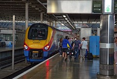 "East Midlands Trains ""Meridian"" DMU 222 007 on St Pancras Station on 28 Aug 2019 (Trains and trams eveywhere) Tags: eastmidland trains dmu nationalrail britain railways class222 meridian stpancras london terminus passengers bicycle"