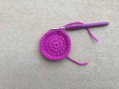 The first four rounds (crochetbug13) Tags: crochet crocheted crocheting crochethat crochetbeanie crochetcap wintercrochetcrochetrainbowhat wearablecrochet crochetyarnbomb dayofthedead crochetdayofthedead crochetsugarskull
