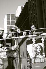 Double-Deck NYC SIghtseers (sjnnyny) Tags: stevenj tokinaatxm100prodmacro100mmf28 nikond750 sjnnyny streetphoto people tourism sightseeing bus city streetscene bw monochrome