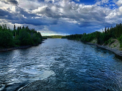 River Flow (Pennan_Brae) Tags: trees nature water river flow yukon flowing yukonriver riverflow clouds cloudy bluesky