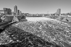 St Anthony Falls [In Explore] (Rivers, Lakes, Nature & Architecture) Tags: stanthonyfalls mississippiriver minneapolis minnesota nikon nikkor wideangle bw blackandwhite 3rdavenuebridge bridge river waterfall inexplore explore captureone