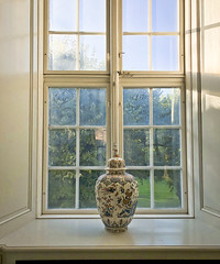 The Writing's on the...Window (ijp01) Tags: europe denmark copenhagen designmuseumdenmark porcelainstudycollection porcelain window alcove vase chinoiserie view sunlight afternoon green grass trees stilllife windowframe sixpanewidow messages hidden tagging white asian interior museum windowcase