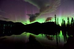 September 11 2018 redo (John Andersen (JPAndersen images)) Tags: kananaskislake elbowriver calgaryalberta auroraborealis canon6d reflections mountain nightsky stars forgetmenotpond