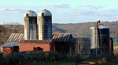 A Farm With A View (Diane Marshman) Tags: farm barn building silo silos rural country setting working red gray metal structures structure mountain hill valley view scene clouds sky pa pennsylvania state nature farming land acres autumn fall trees